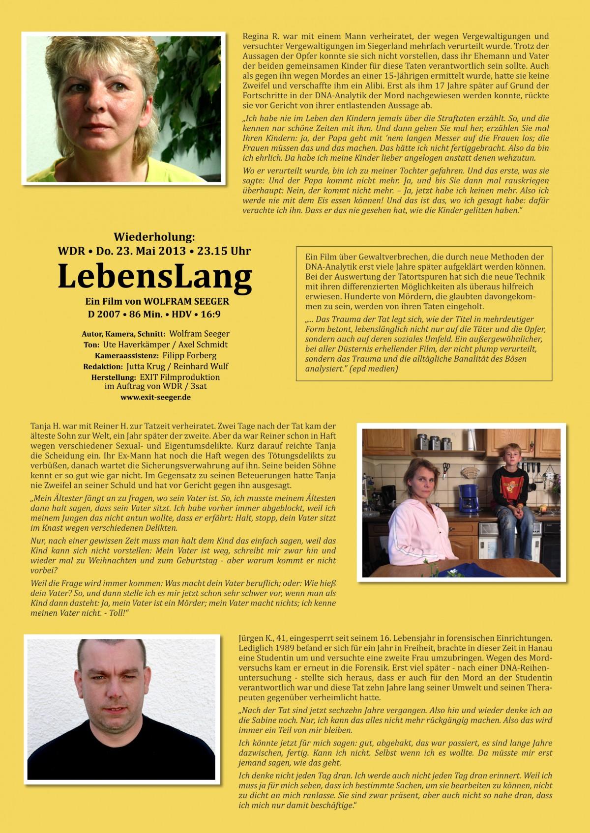 Flyer LebensLang WDR Wiederholung 23.5.2013